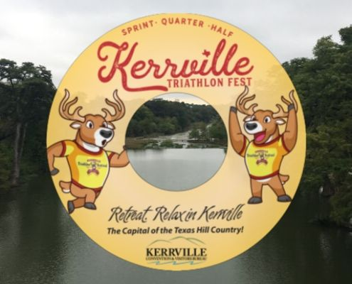 Image of custom float all Kerrville Triathlon participants will receive! They're part of the largest field in event history.