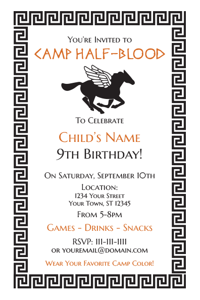 Percy Jackson Invitations