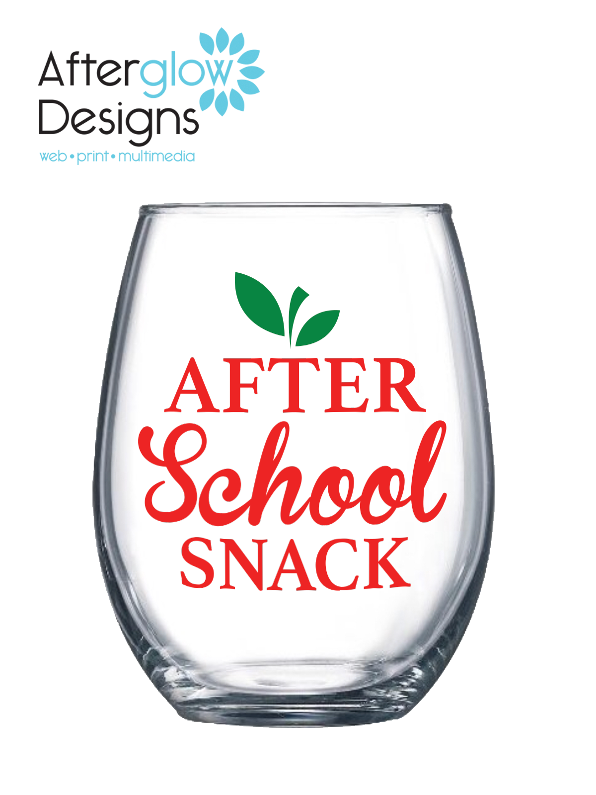 """After School Snack"" 15oz Stemless Wine Glass"
