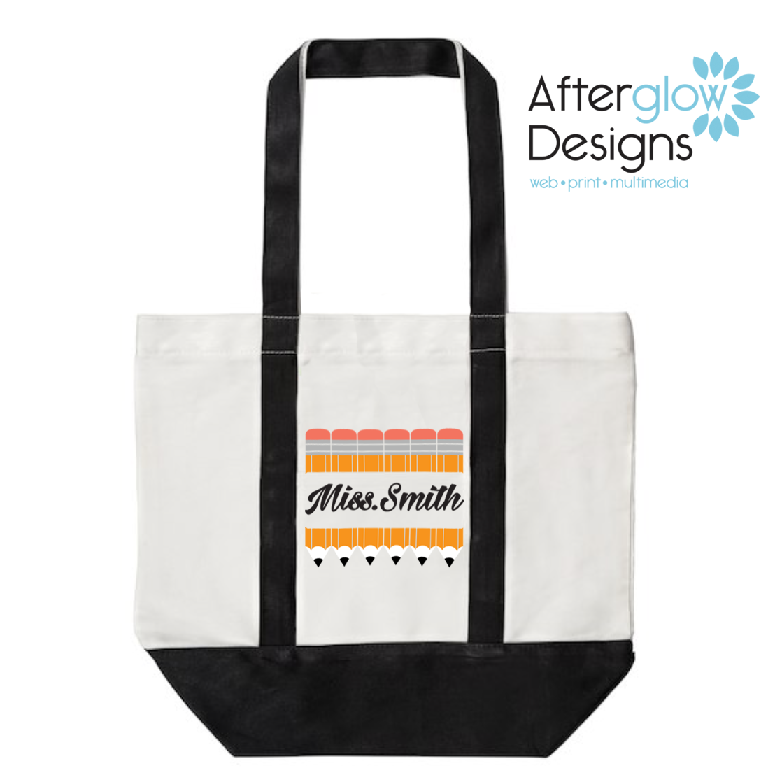 Pencils on Black Tote Bag