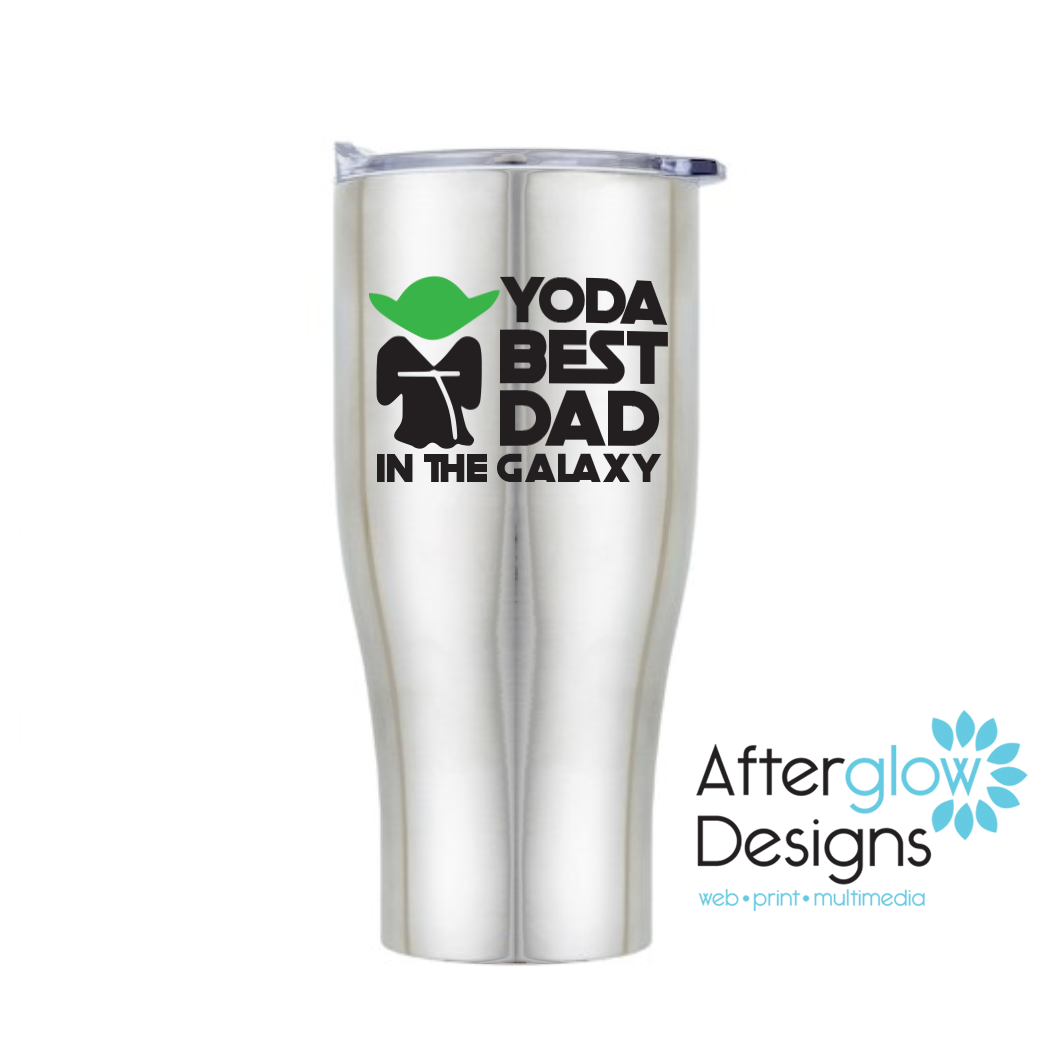 """Yoda Best Dad in the Galaxy"" on Travel Mug"