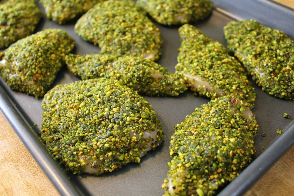 chicken breaded in gluten-free pistachio crust