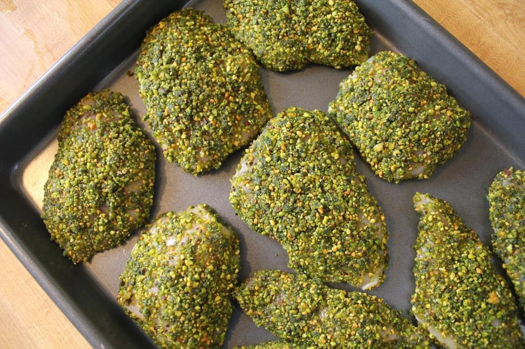 chicken coated in gluten-free pistachio crust
