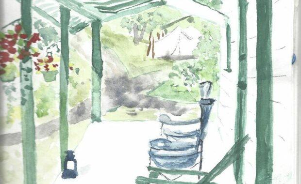 Watercolor of camp