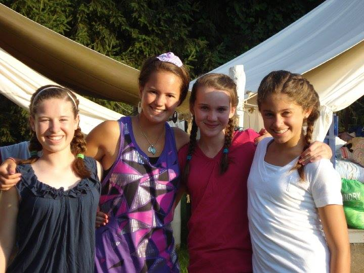 Stewart Summers (second from left) and Chloë (third from left) with other campers in summer 2010. Photo: Camp Alleghany for Girls.