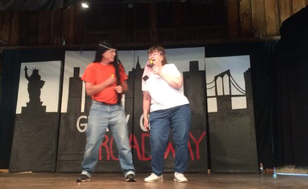 Sam and Bonnie Dawson playing Sonny & Cher in a skit