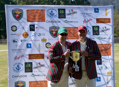 •Pre-game ceremonies as the two captains pose with the Napa Valley World Series of Cricket trophy. Rob Bolch (L) and Bill Nancarrow