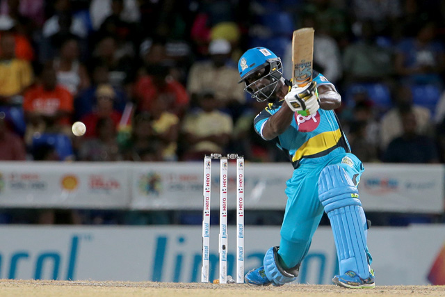 Andre Fletcher drives during his knock of 77. (Photo by Ashley Allen/CPL)