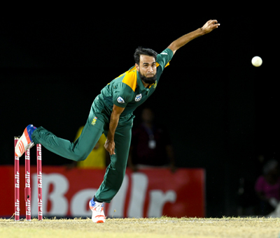 Imran Tahir during his spell 7 for 45 against West Indies.