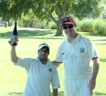 •NVCC Captain Rob Bolch (R) pictured presenting the Clos du Val Man of the Match award to Marin CC Socials Bilal for his not out innings.