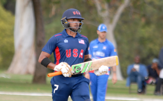 Opener Fahad Babar produced a fine knock of 70 not out in USA win over Bermuda. Photo by Shiek Mohamed