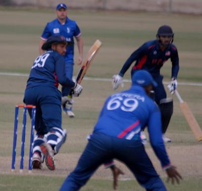 USA last pair batsmen Jaspreet Singh on strike  and Danial Ahmad. Photo by Shiek Mohamed
