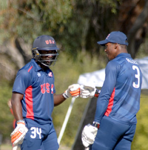 Nicholas Stanford (left) and Timroy Allen during their partnership of 77 runs.
