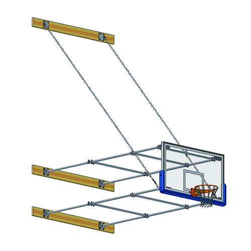 "Stationary Backstop System – w/ 42"" Glass Backboard (10'-12' Ext)"