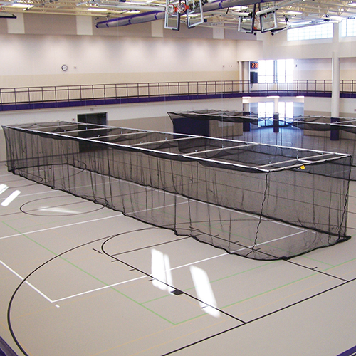 Ceiling Suspended Retractable Batting Cages (Baseball – 1-3/4″ mesh)