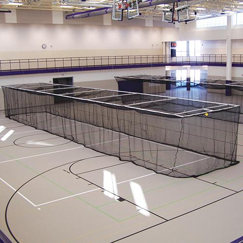 Ceiling Suspended Retractable Batting Cage (Multi-Sport – 3/4″ mesh)
