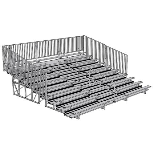 Enclosed Bleacher (10 Row – 21' w/ Guard Rail & Aisle)