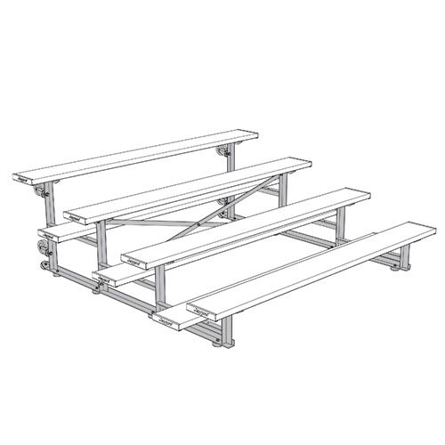 Tip & Roll Bleachers (7-1/2′ Double Foot Plank – 4 Row – Powder Coated)