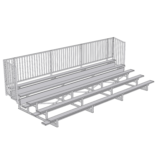 Enclosed Bleacher (5 Row – 21' – w/ Guard Rail)