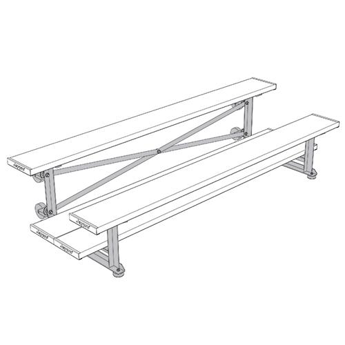 Tip & Roll Bleachers (7-1/2′ Single Foot Plank – 2 Row – Powder Coated)