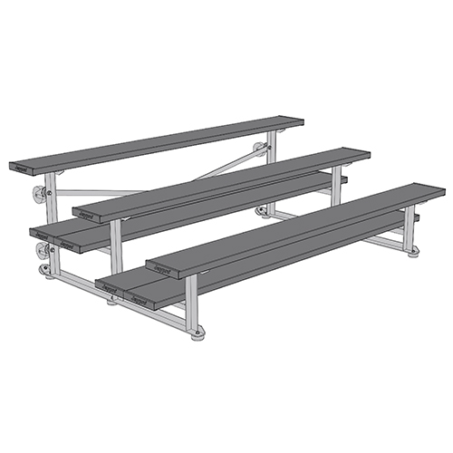 Tip & Roll Bleachers (7-1/2′ Double Foot Plank – 3 Row – Powder Coated)
