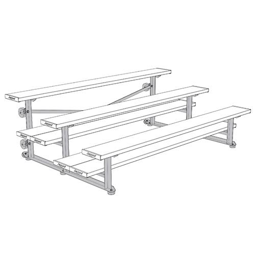 Tip & Roll Bleachers (7-1/2′ Single Foot Plank – 3 Row – Powder Coated)