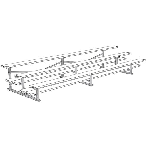 All Aluminum Bleachers (15′ Single Foot Plank – 3 Row – Powder Coated)
