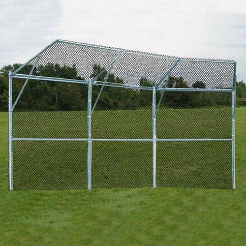 Permanent Baseball/Softball Backstop (3 Panel, 1 Center Overhang, 2 Wing Overhangs)