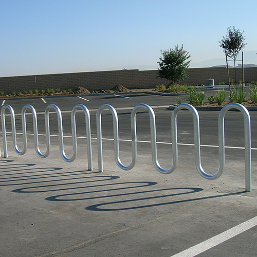 Wave Bicycle Rack (7 Capacity – Surface Mount – Galvanized)
