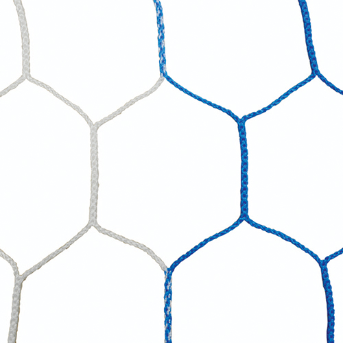 "5mm 5 1/2"" Hex Mesh White/Blue Soccer Net 8×24"