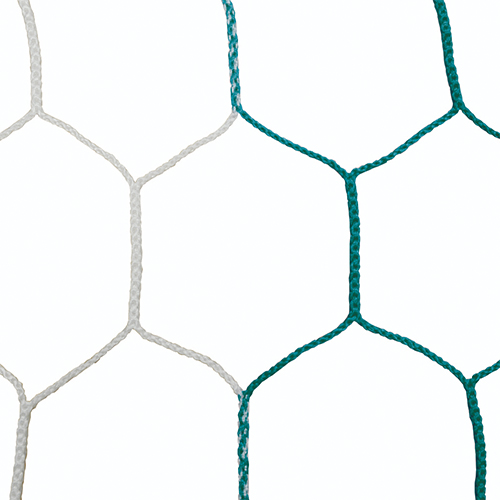 "5mm 5 1/2"" Hex Mesh White/Green Soccer Net 8×24"