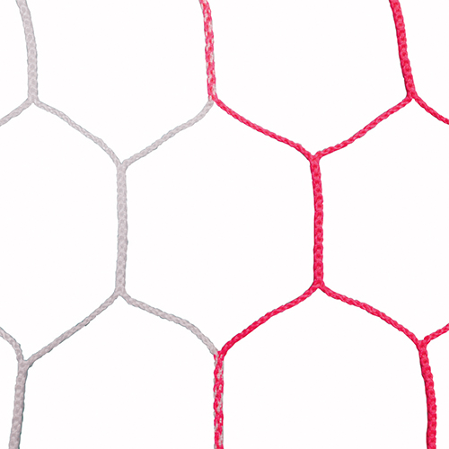 "5mm 5 1/2"" Hex Mesh White/Red Soccer Net 8×24"