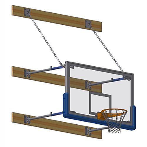 "Stationary Backstop System – w/ 42"" Glass Backboard (2'-4' Ext)"