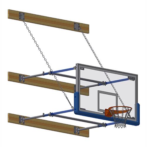 "Stationary Backstop System – w/ 42"" Glass Backboard (4'-6' Ext)"
