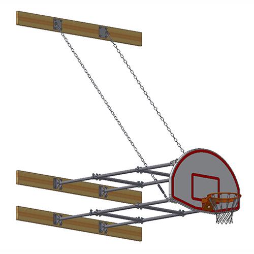 Stationary Backstop System – w/ Aluminum Fan Backboard (6'-8' Ext)