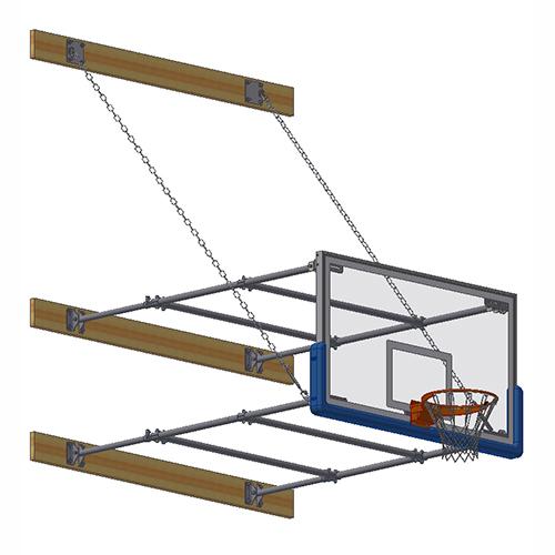"Stationary Backstop System – w/ 42"" Glass Backboard (6'-8' Ext)"