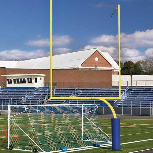 "Steel Football Goal Post (Leveling Plate – 5'Ox20'U – High School 23' 4"" Wide – Yellow)"