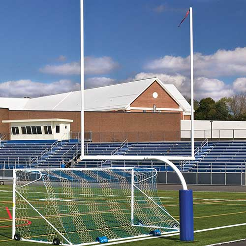 "Steel Football Goal Post (Leveling Plate – 6'Ox20'U – High School 23' 4"" Wide- White)"