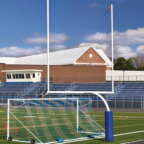 "Steel Football Goal Post (Semi/Perm – 6'Ox20'U – High School 23' 4"" Wide – White)"