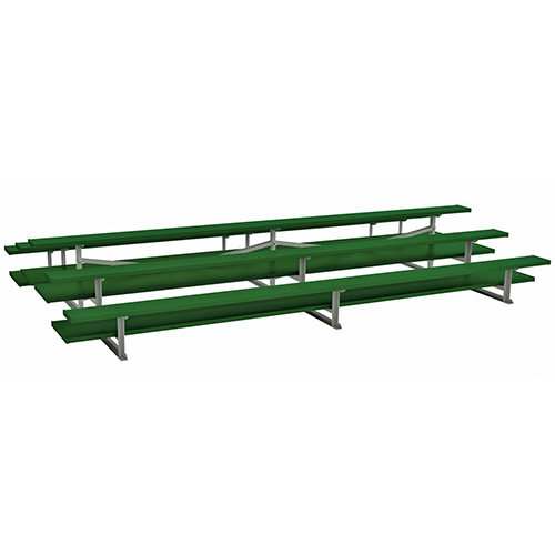 Back-to-Back Bleachers (15′ Double Foot Plank – 3 Row – Powder Coated)