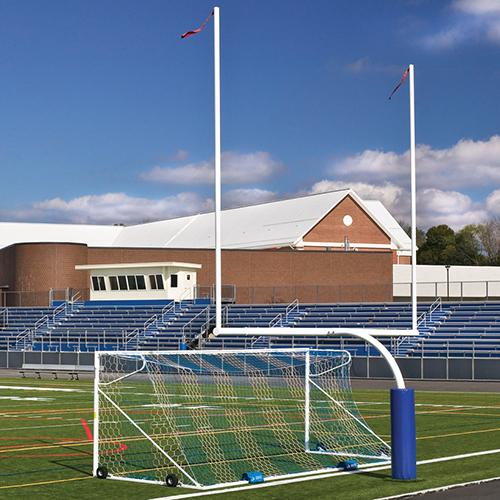 "Steel Football Goal Post (Leveling Plate – 6'Ox20'U – Collegiate 18' 6"" Wide – White)"