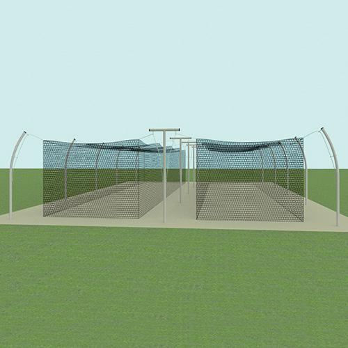 55' Professional Tandem Outdoor Batting Tunnel Frame