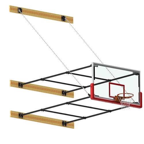 """Fold-Up Backstop System – w/ 42"""" Glass Backboard (10'-12' Ext)"""