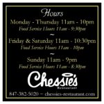Chessies Restaurant Hours