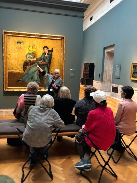 Women listening to lecture on art at the Cleveland Art Museum