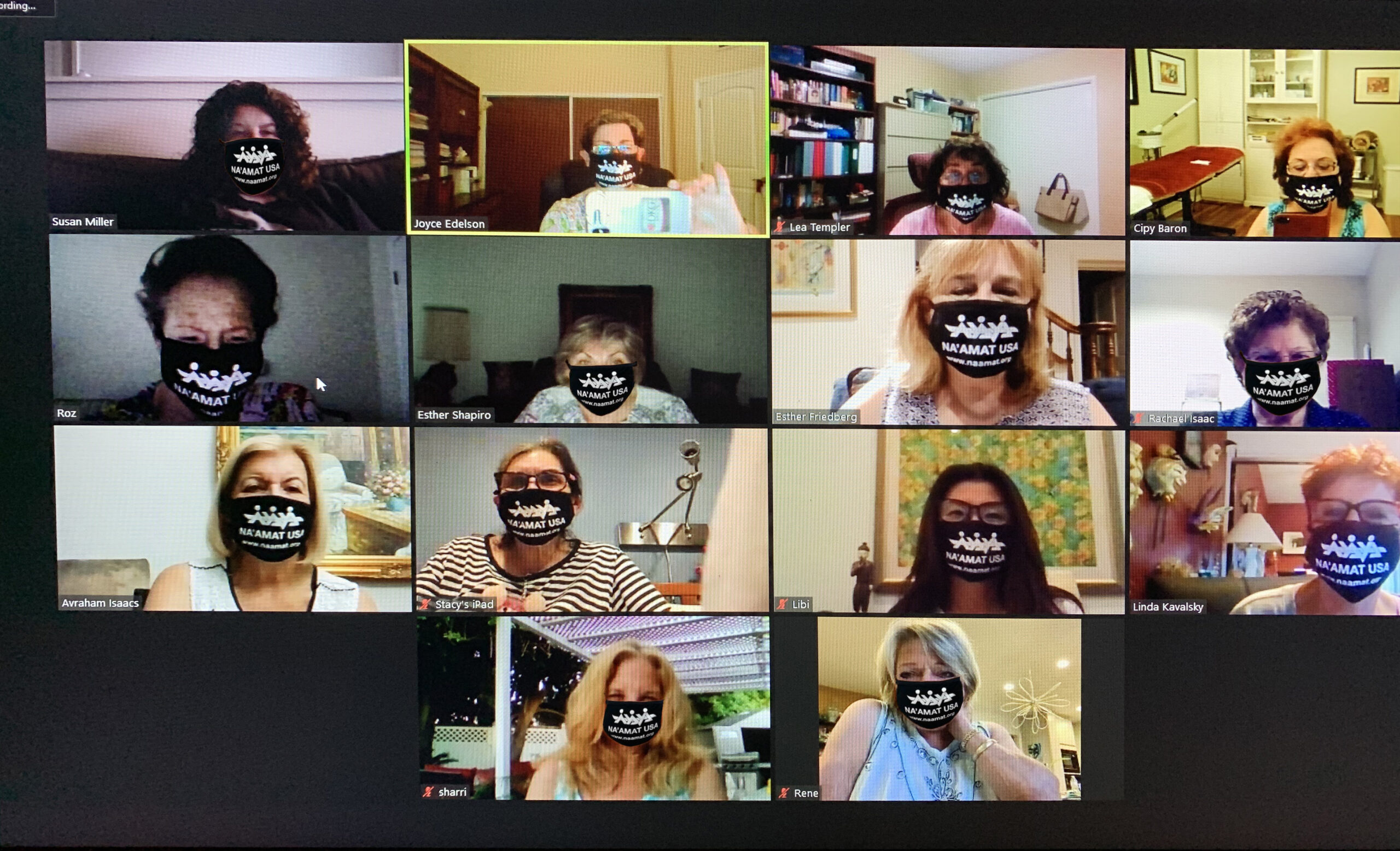 Having a board meeting over zoom, wearing NA'AMAT masks