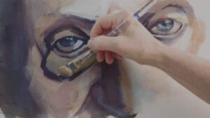 Artist painting a person