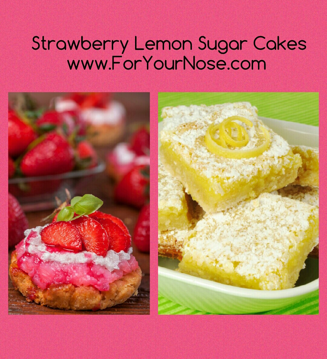 strawberry lemon sugar cakes