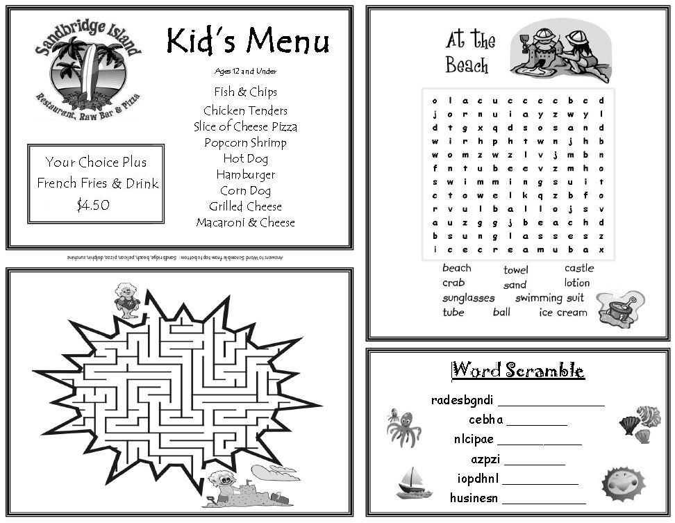 Sandbridge Island Restaurant Kids Menu