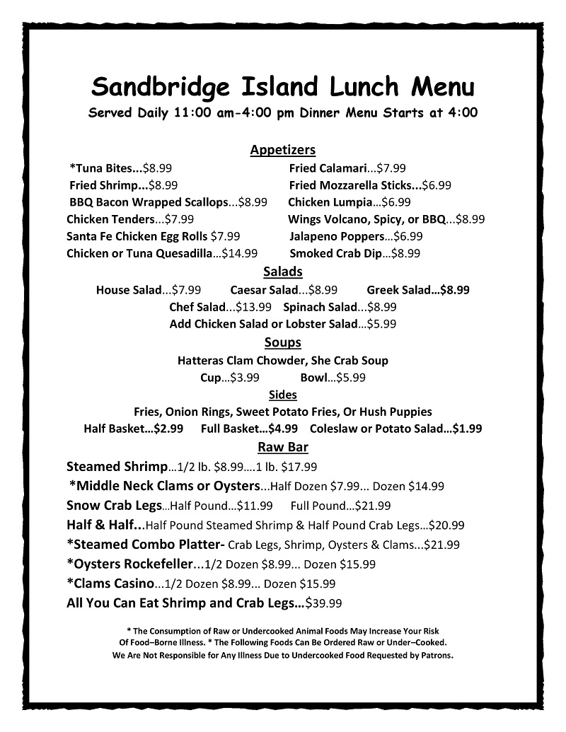 2019 Lunch Menu Summer 1